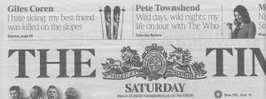 'The Times' of London, March 21st, '09