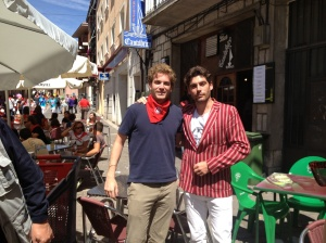 Nicolás Osorio & I in the streets after the encierro (Photo: Graeme Galloway / Pamplona Posse)