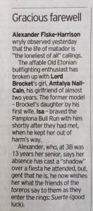 From the Daily Telegraph, Dec. 10, 2013