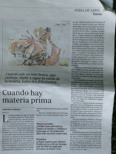 The Spanish newspaper ABC bemoans the lack of bulls with the headline 'When there is raw material' (click to enlarge)