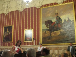 Cristina Ybarra presents her poster for the Rocío pilgrimage in the Salón de Borbón at the City Hall of Seville