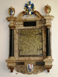 Memorial plaque at Otley Church in Suffolk, drawing the line from Rev. John Fiske, M.A. (Cantab.) back to Lady Margaret Pole, Countess of Salisbury, née Plantagenet, last of that name