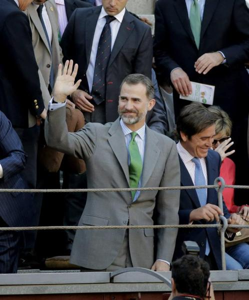 King Felipe of Spain at his first corrida as Monarch at the plaza de toros of Madrid, Las Ventas, accompanied by the matador Eduardo Dávila Miura