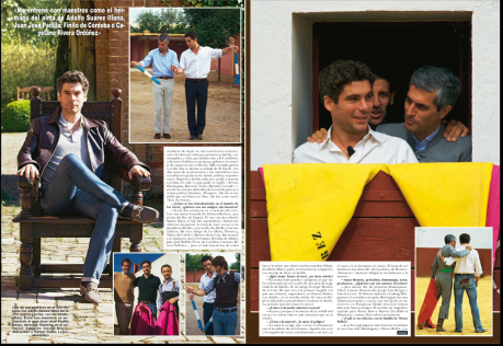 One of his godfathers in the art of bullfighting was Don Adolfo Suárez Illana (on opposite page and above, with the banderillas). Among his Maestros he counts the great Juan José Padilla (below and right.) Right, in the alleyway round the ring, Eduardo Dávila Miura and Rafael Rubio Luján, 'Rafaelillo'.