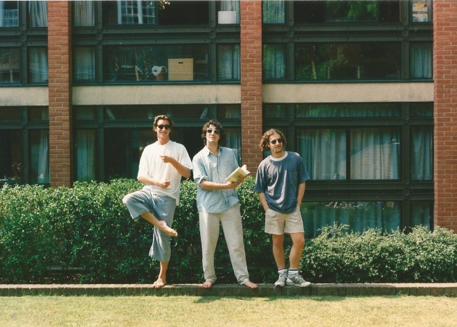 Dominic Elliot, George Pendle and Joshua Steckel outside my rooms in St. Peters. (Photo by Alexander Fiske-Harrison)