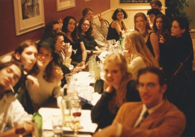 Antonia's 19th Birthday Party, L-R, George Pendle, Dave ? & gf, Steven France, Hugh Dancy, Dr. Genevieve Connors, ?, John Mühlemann, ?, David Collard, David Budds, Biranda Ford, Lucy, Antonia, Caroline Early, Cat Bagshawe, Joshua Steckel (Photo by Alexander Fiske-Harrison)