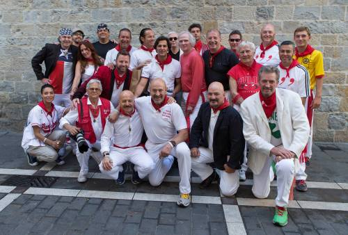 The Pamplona Runner's Breakfast 2015. Joe Distler is in sunglasses next to me at the back behind the matador David Mora (white polo shirt) with Julen Madina kneeling front (white t-shirt) (Photo Photo by John Kimmich on Jim Hollander's camera - Jim is front row holding John's camera)